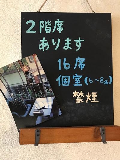 高円寺ホノホノカフェの店内にある2階席のご案内プレート