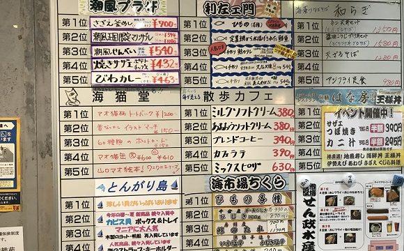 ちくら潮風王国に掲示されているおすすめ商品ベスト5のボード