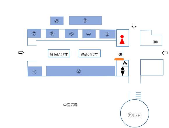 ちくら潮風王国の建物内の案内図