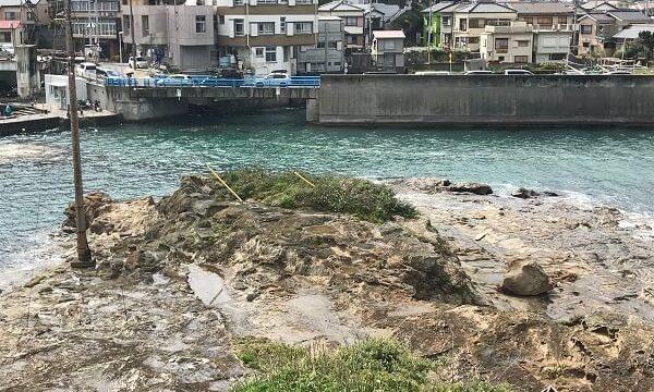 仁右衛門島に展望所から見た亀岩と太海港