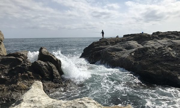 仁右衛門島の岩場で釣りをする男性の後ろ姿