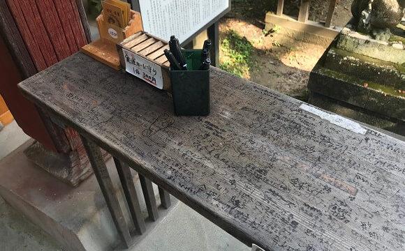 秩父聖神社の絵馬に願い事を書くために用意されている台