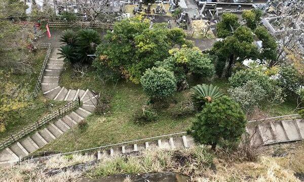 観音堂まで登った階段を眼下に見下ろす