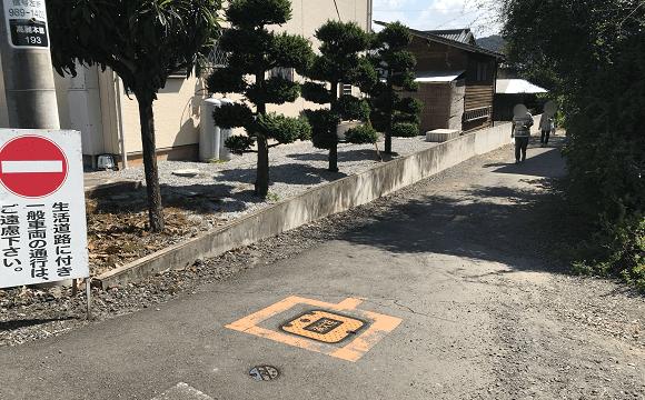 巾着田への道(この角を右折)