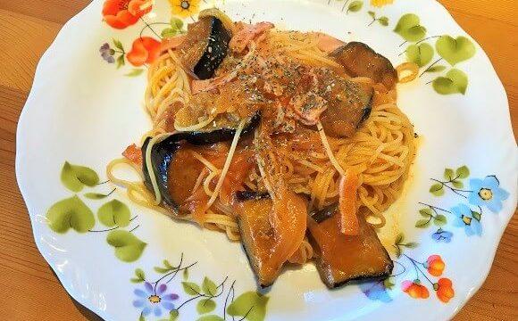 レシピレシピのランチパスタ(茄子とベーコンのトマトパスタ)
