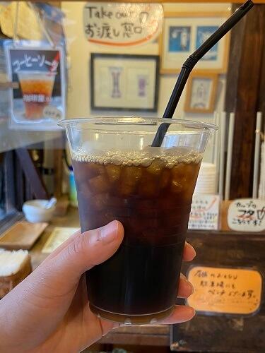 豆蔵の人気商品、スッキリとした味わいのアイスコーヒー